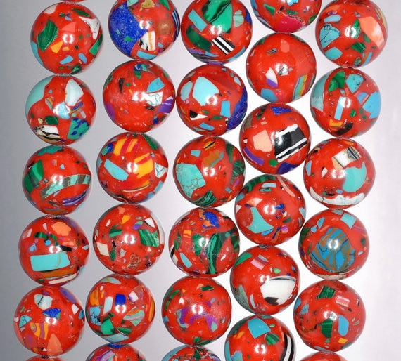 Matriz de 14mm piedra preciosa turquesa mosaico rojo redondo 14mm cuentas sueltas 15,5 pulgadas hebra completa (90145252-213)