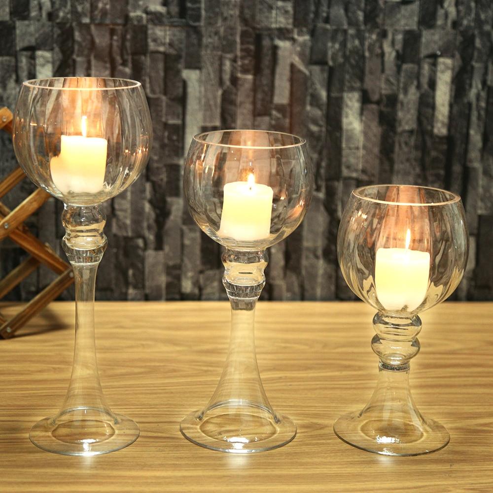 3PCS Set Glass Candlestick Big Capacity Suitable For 10cm Candles Wedding Home Bar Party Decorations Ideas