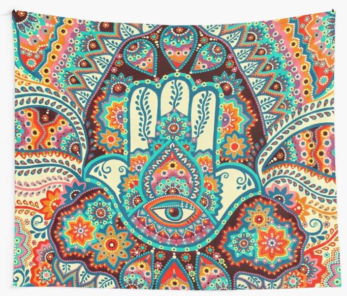 אפור שטיח חמסה יד לזרוק הודי היפי קיר, עירוני שירטט יד מארג