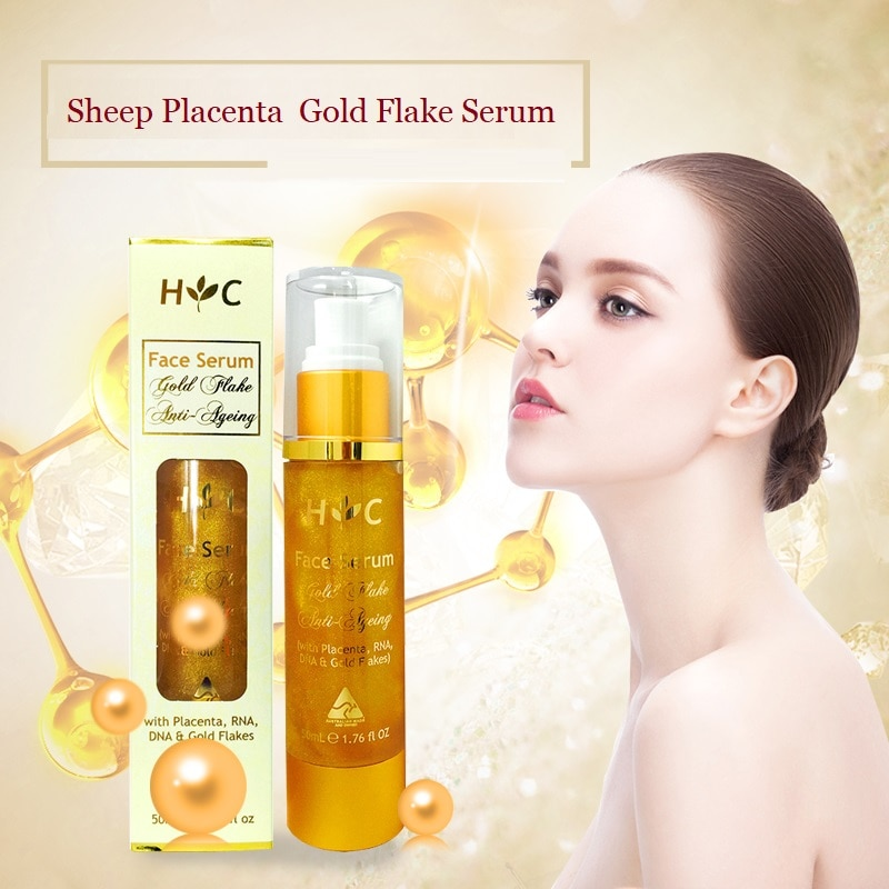 Australia Healthy Care Sheep Placenta Anti Ageing Gold Face Serum Reduces Black Spots Wrinkles Fine Lines Improve Skin Radiance