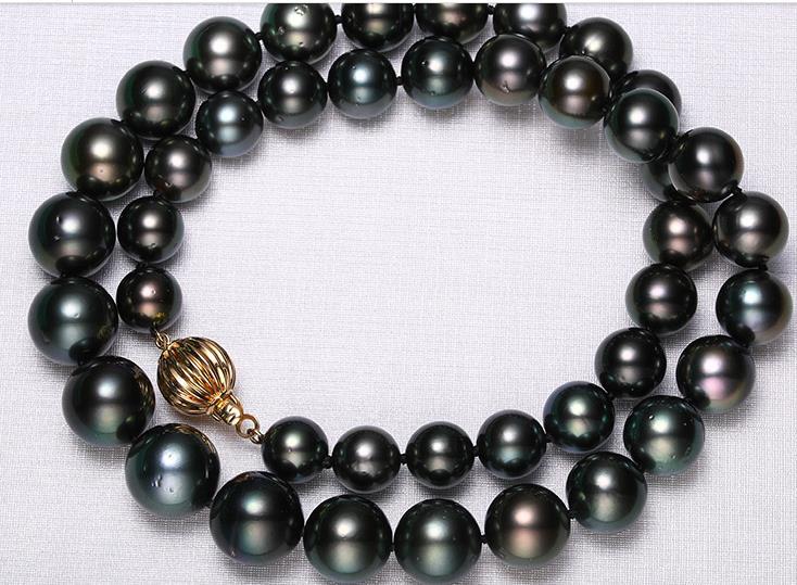 Impresionante 10-13mm tahitian redondo negro verde perla collar 18 pulgadas 14k