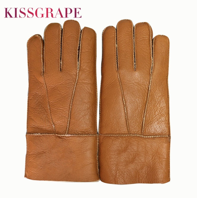 Russian Winter Super Warm Gloves Men Genuine Sheep Fur Mittens Male Outdoor Driving Motorcycle Soft Windproof