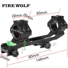 Feu loup Bk fusil portée monte 1 pouce/30mm anneau fusil optique Picatinny Weaver Rail avec bulle niveau portée monture fusil Bipod