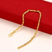 Mxgxmpa (19 cm) couleur or pur Bracelet mignon pour les femmes mode motifs personnels sans allergie