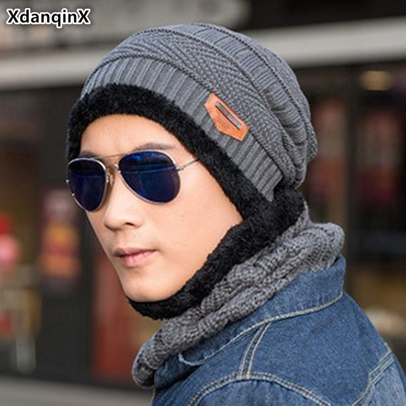 XdanqinX Winter New Knitted Hat Warm Thick Beanies Mens Plus Velvet Masked Cap Fashion Sports Ski Earmuffs Hats For Men