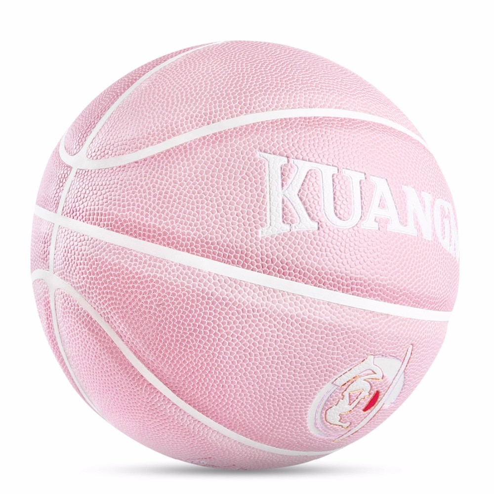 Kuangmi الوردي داخلي في الهواء الطلق كرة السلة للنساء الفتيات كرة السلة التدريب بولي Leather الجلود عدم الانزلاق مقاومة للاهتراء لعبة كرات