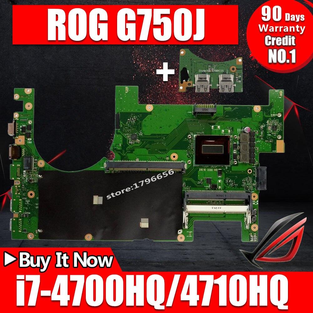 Enviar placa + 2D placa base de Computadora Portátil para ASUS G750JM G750JW G750JX G750J G750 prueba placa base original de i7-4710HQ I7-4700HQ