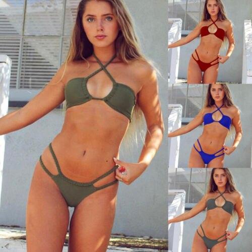 Hirigin 2018 Sexy Women Bikinis Set Swimsuit Bandage Swimwear Women Push Up Padded Bra Bikins Knit Beachwear Bathing Suits
