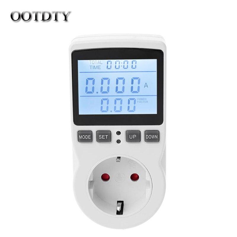 Medidor de energia digital tomada ue plug medidor de energia corrente tensão watt custo de eletricidade medição monitor analisador de energia electroni