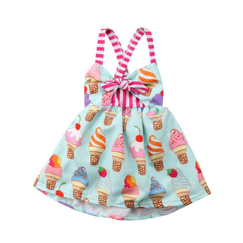 Toddler Kids Baby Girls Summer Sleeveless Ice Cream Print Strap Tutu Dress Sundress Clothes Summer