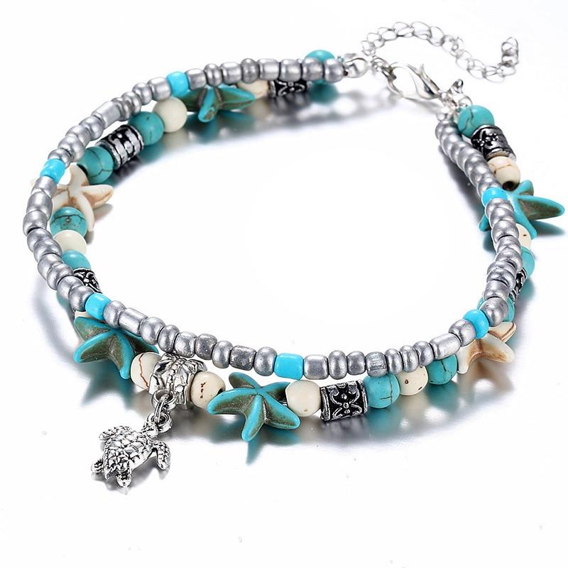 Venda bohemia grânulo concha starfish tartaruga tornozeleiras para mulher sandálias sapatos descalço praia tornozelo pulseira pé jóias