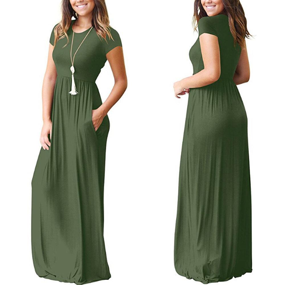 New Womens O Neck Floor Length Dress Loose Short Sleeve Soild Casual Sun Dresses