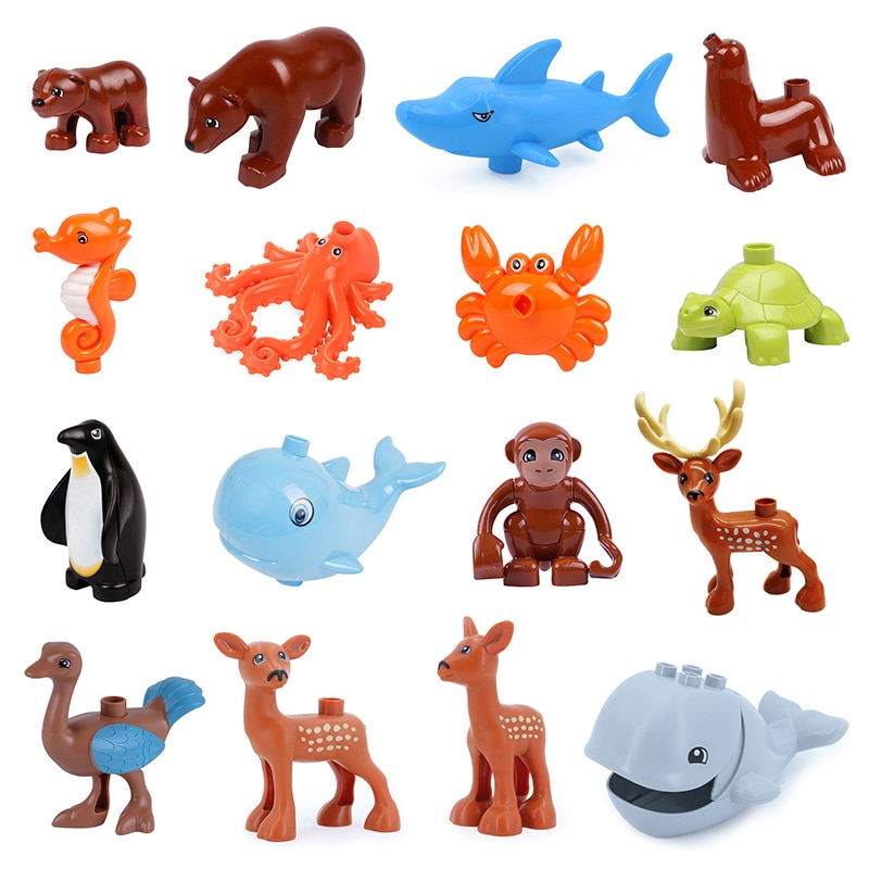 Big Building Blocks Ocean Animals Whale Bear Educational Accessories DIY Toys For Children Compatible with Duploe Baby Gift