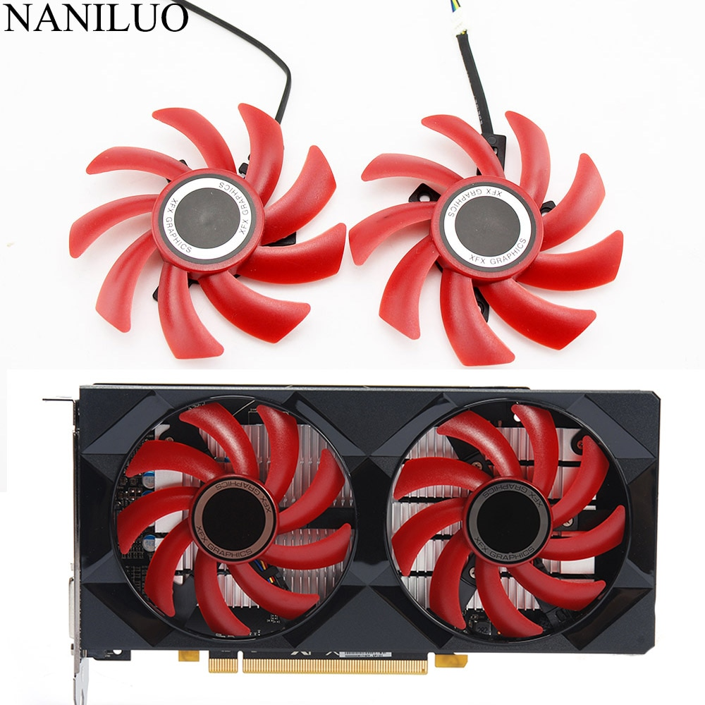 2PCS/lot 85MM Fan RX 550/560 GPU VGA Cooler Video Card Fan For Radeon XFX RX560 RX550 Graphics just can be as replacement