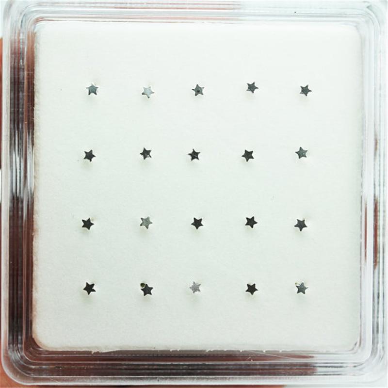 100% 925 Sterling Zilveren Ster Neus Stud Pin Unisex Nariz Piercing Sieraden 20 Stks/pak