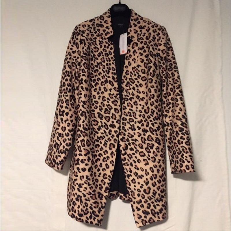 Novo casaco de inverno feminino senhoras leopardo impressão casacos casual manga longa terno fino superior jaqueta outwear formal
