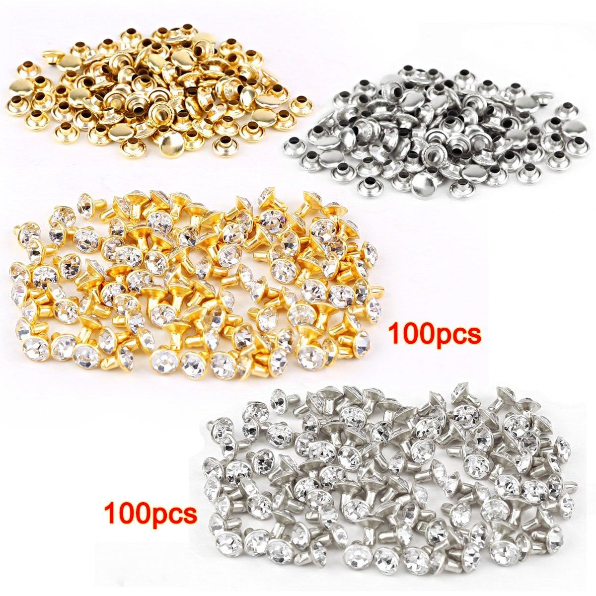 LHLL 100 шт серебро + 100 шт золотая заклепка со стразами 7 мм