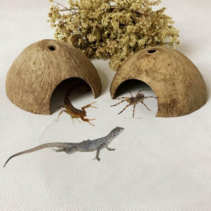 Рептилия спрятанная пещера натуральная Кокосовая ящерица паук среда обитания черепаха домик для креветок аквариум Декор GQ999
