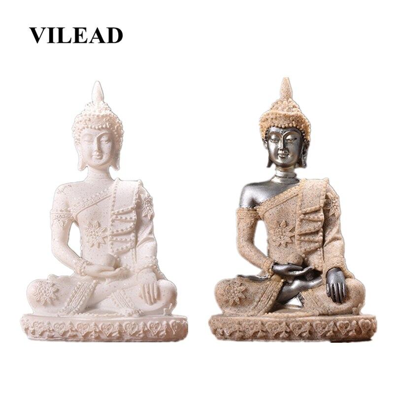 Estatua femenina de Buda VILEAD de piedra arenisca Natural de 4,3 pulgadas, accesorios de decoración para el hogar de Tailandia, para el porche y la sala de estar figuritas, decoraciones