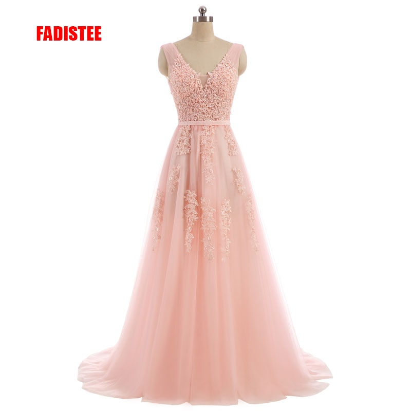 FADISTEE Vestido De Festa Sweet pink Lace V-neck Long Evening Dress Bride Party  Backless beads pearls Prom Dresses lace-up