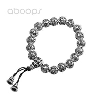 vintage 925 sterling silver beads bracelet with buddhism om mani padme hum for men891012mmfree shipping
