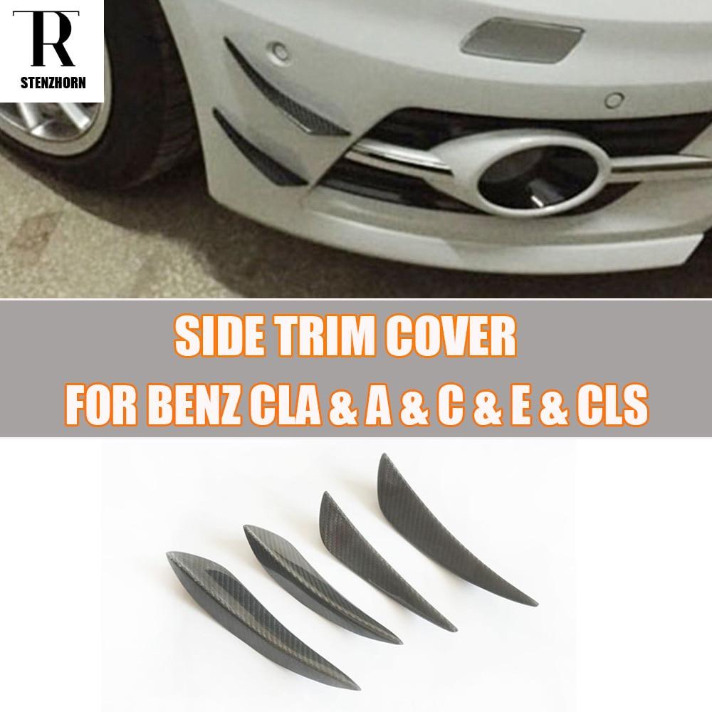 Alerón de fibra de carbono para lateral de parachoques Canards Splitter para Benz W176 A W117 CLA W204 W205 C W212 W207 E W218 CLS todos los coches