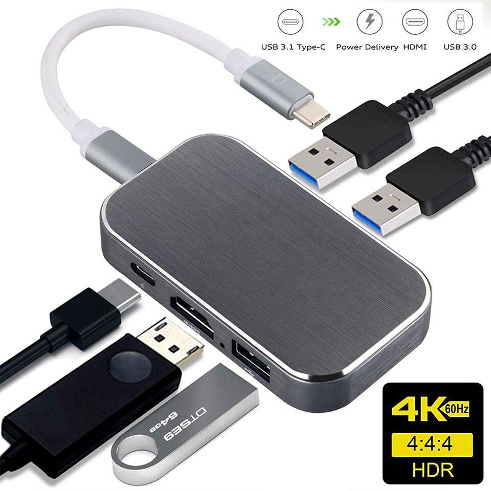 Navceker 100W USB 3,1 Typ C Zu HDMI USB 3,0 Adapter Konverter 4K 60Hz USB C Hub für MacBook Pro Pixel Huawei Mate10 Samsung S9