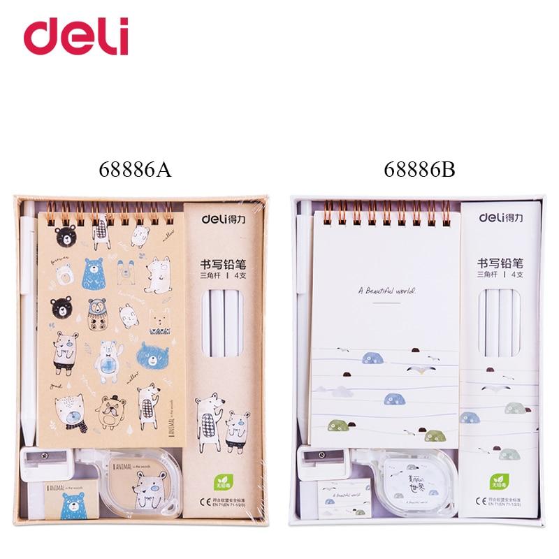 Deli качественные милые школьные детские канцелярские принадлежности, набор для письма A6, спиральная гелевая ручка для ноутбука, карандаш дл...