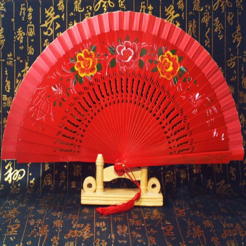 Cheongsam-abanico plegable de doble cara para mujer, accesorio para espectáculo de baile,...