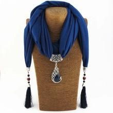 KMVEXO Vintage écharpe collier pierre naturelle pendentif paon pour femmes frange gland colliers 2018 nouvelle déclaration Bijoux