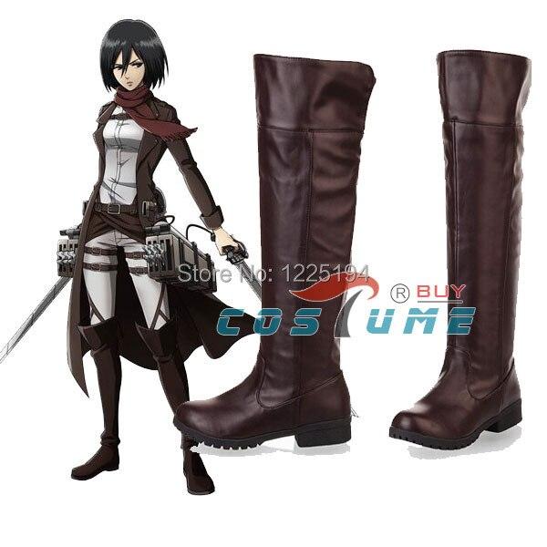 Anime ataque en Titán Cosplay botas Shingeki no Kyojin Eren Jaeger Ackerman Cosplay zapatos botas