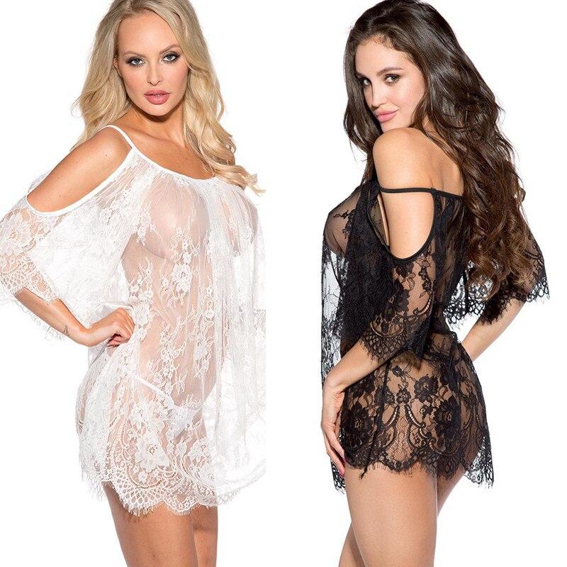 Lencería Sexy de encaje con pestaña Blanca Negra y hombros descubiertos transparente para mujer, prendas interiores sugerentes, ropa interior Sexy