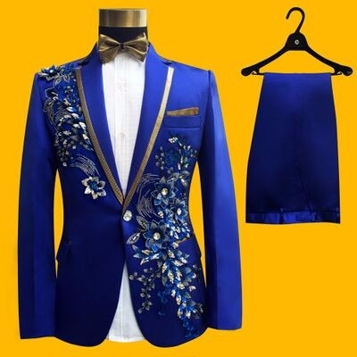 2017 أحدث معطف بانت تصاميم الملكي الأزرق نمط حجر الراين الرجال دعوى زي مرحلة سهرة صالح سليم 2 قطعة حفلة موسيقية السترة Masculino