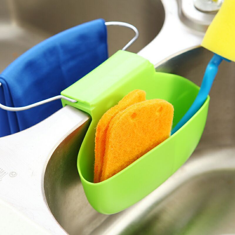 Auto drenagem Sink Tidy suporte organizador de escova de cinza esponja cabide multifuncional