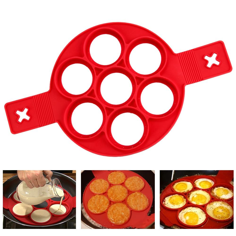 Kitchen DIY Pancake Maker 7 Holes Round Pancake Mold BPA Free Silicone Egg Frying Form Kitchen Helpers Flip Cooker For Pancakes