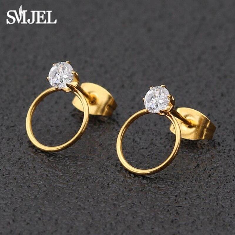 Маленькие Геометрические серьги SMJEL, женские круглые серьги-гвоздики с кристаллами циркония, аксессуары для девочек, оптовая продажа, круглые серьги-гвоздики