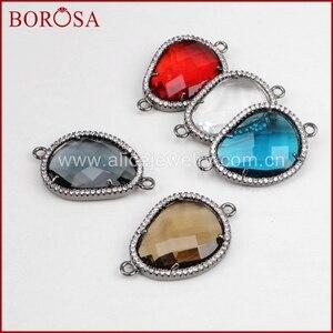 BOROSA 10Pcs Fashion Irregular Black Faceted Framed Charms CZ Birthstone Pendants Glass Bezel Bracelet Connector Jewelry WX386