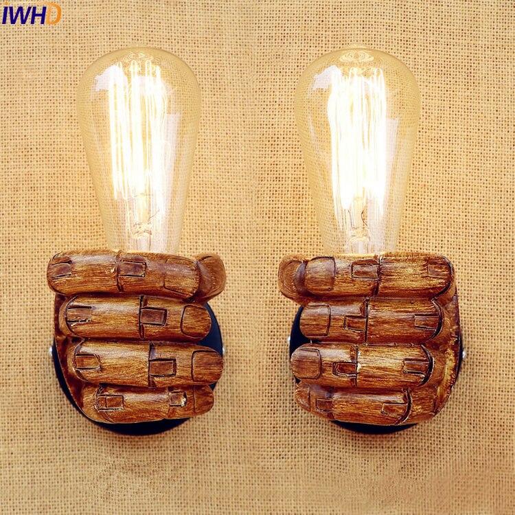IWHD смоляный кулак светодиодный настенный светильник винтажный Lampe спальня лестничный светильник Ретро Эдисон настенный светильник s свети...