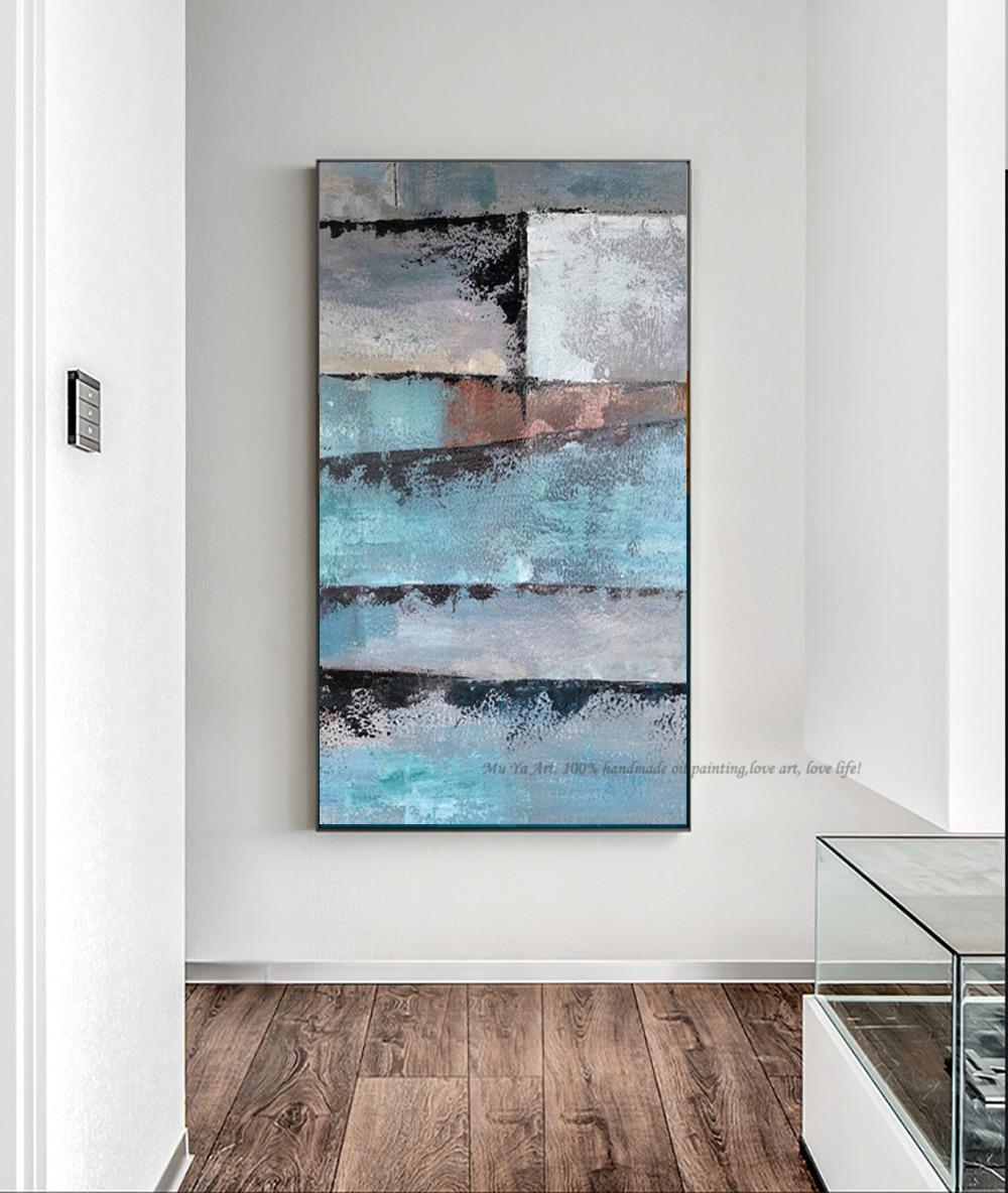 Cuadro al óleo con pintura abstracta vertical, decoración de salón, láminas de...
