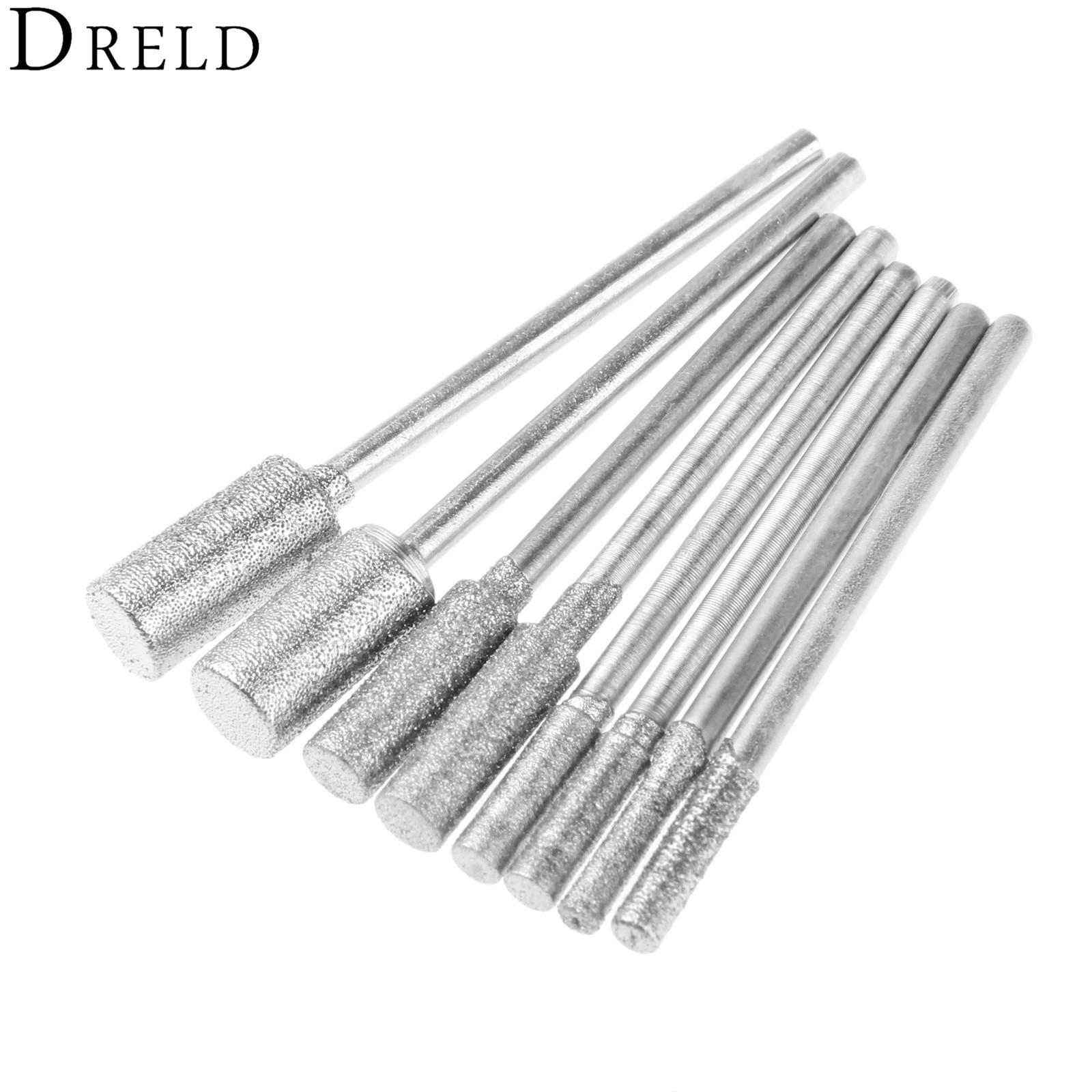 8pcs / set الماس برش سنگزنی نقاط نصب شده بیت 2.35mm ساقه سنگ یشم سنگ تراش پرداخت برای ابزار چرخشی Dremel