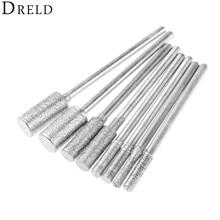 DRELD 8 개/대 다이아몬드 커팅 그라인딩 헤드 장착 포인트 비트 2.35mm Shank Jade Stone Dremel 로타리 공구 용 연마