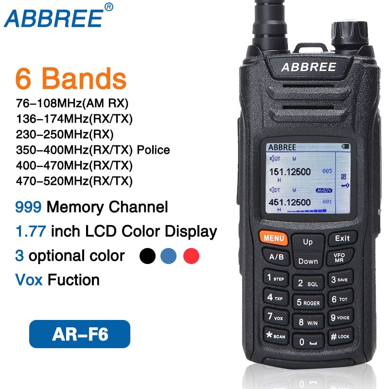 ABBREE AR-F6 6 bandas pantalla espera 999CH Multi-funcional VOX DTMF SOS pantalla LCD a Color de Walkie Talkie Radio CB Radio de jamón