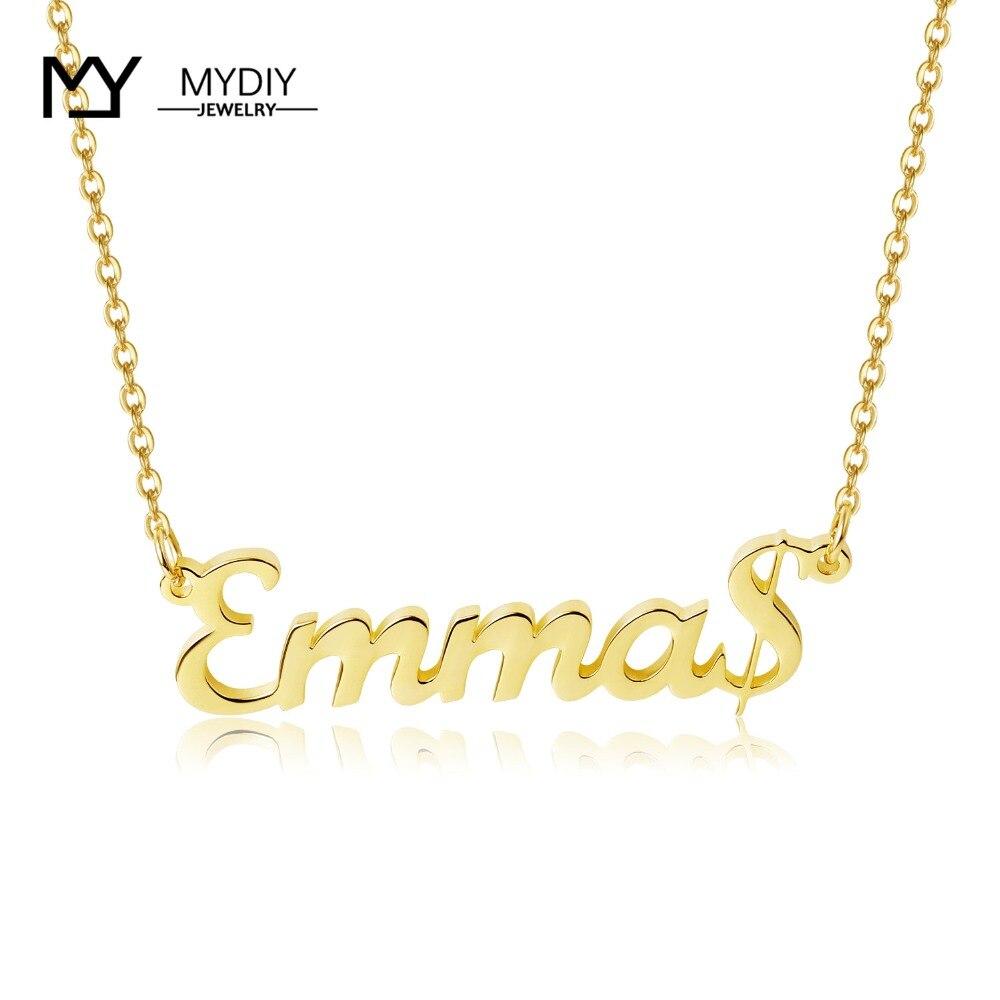 Collar con nombre personalizado con símbolo de dólar, collar con placa de identificación de Plata de Ley 925, regalo hecho a mano para gargantilla de mujer