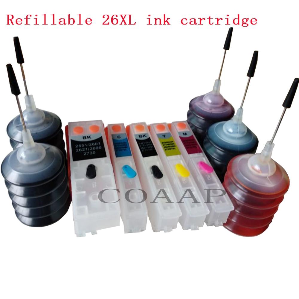 5 pacote 26xl cartucho recarregáveis kit para epson xp 615 620 625 700 710 720 800 810 820 impressora, (tinta de corante 150ml)