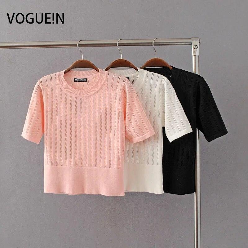 VOGUE! N nuevas medias para mujer/Juniors Sexy hueco de punto Stretch suéter corto Tops 3 colores al por mayor