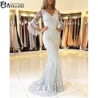 ivory prom dresses 2021 lace v neck party maxys mermaid long prom gown with beading custom made vestidos de fiesta de noche