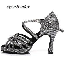 Mode argent noir Satin femmes ultra talons hauts 10cm chaussures de danse latine plate-forme imperméable augmenté chaussures de fête Kizomba Salsa