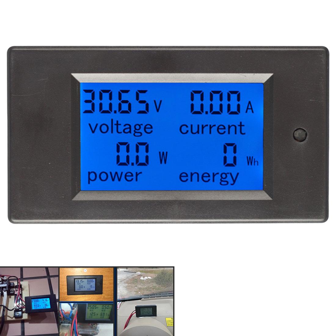 Medidor de energia de corrente digital dc 6.5-100 v 0-100a display lcd multímetro amperímetro voltímetro 100a atual shunt