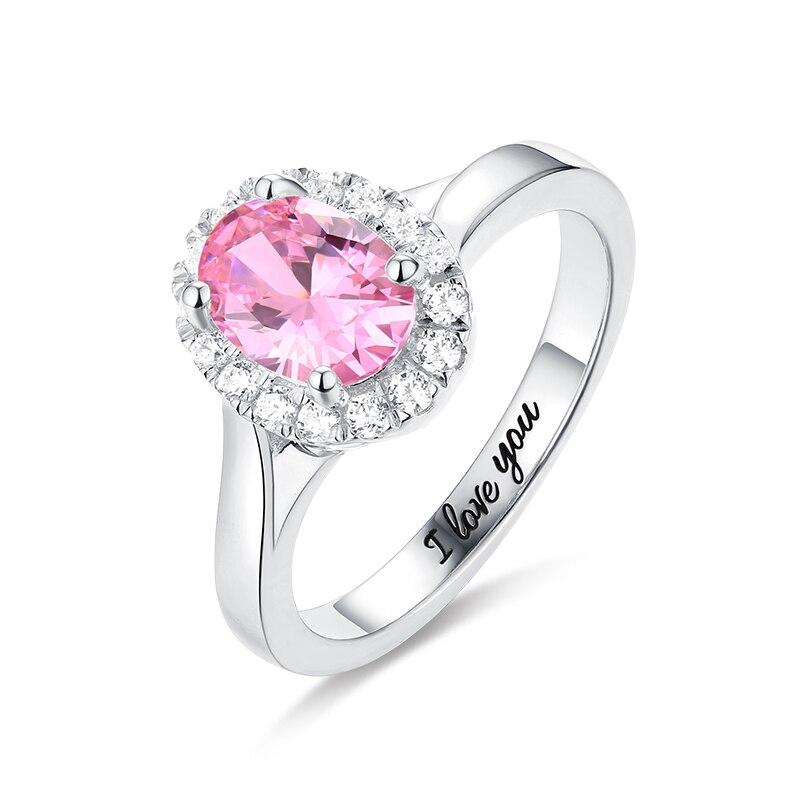 Anillo personalizado con letras en el interior, grabado en plata de ley, impresionante anillo Halo de piedra de Forma ovalada en joyería de plata para mujer