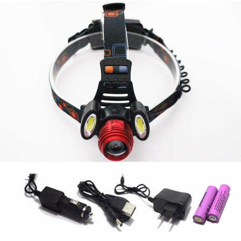 9000Lm Led lighting Head Lamp T6 LED Headlamp Headlight Camping Fishing Light +2*18650 battery+Car EU/US/AU/UK charger+1*USB